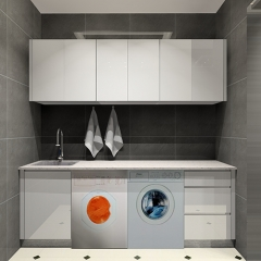 glossy white laundry room cabinets